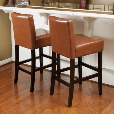 Best Selling Lopez Hazelnut Leather Counter Stool, Set of 2 (26 Inch Stationary Bar Stool)