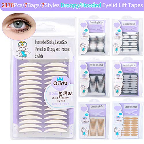 2176Pcs/7Styles/7Packs Ultra Invisible Double Eyelid Tapes for Droopy Hooded Eyes, One/Two-sided Sticky, Natural Waterproof Self-adhesive Magic Charming Bigger Round Eyes Fiber Glue Strips ()