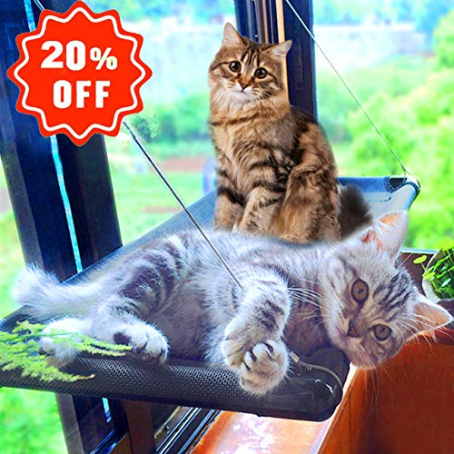 Cat Bed Window Perch Hammock Sunny Seat for Larger Cats Perches Window Mounted Cat Beds Two Kitty Window Seat Animal Pet Kitten Cot Beds Heavy Duty 4 Suction Cups Holds Up to 60lbs ()