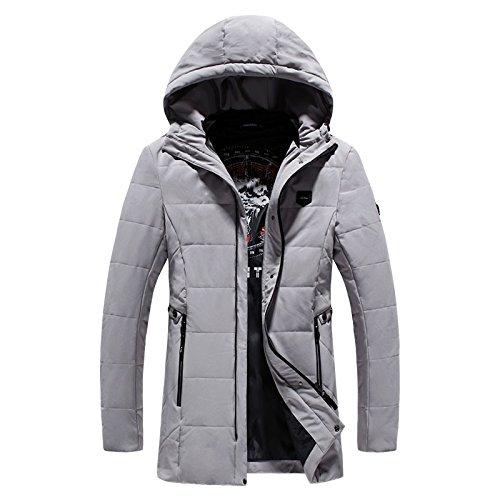 largo de moda de y ropa incluso de de algodón tendencias invierno XXXL de gris calientes la de algodón tapa Los versátil hombres hombres abrigo chaqueta 5qa4nwYx