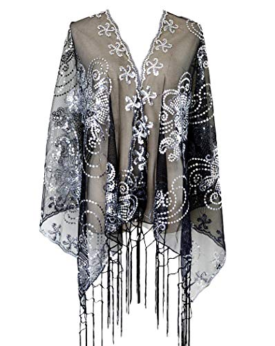 L'vow Women's Glittering 1920s Scarf Mesh Sequin Wedding Cape Fringed Evening Shawl Wrap(Silver and Black)