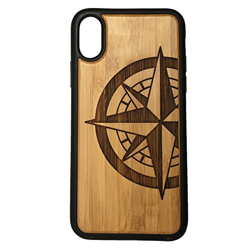Compass Rose Phone Case Cover for iPhone XR by iMakeTheCase | Eco-Friendly Bamboo Wood Cover + TPU Wrapped Edges | Tattoo Nautical Navigation | North South East West. Sailor Military. ()