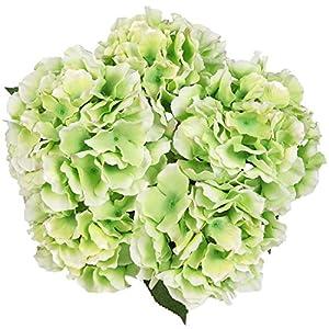 Luyue 5 Big Heads Artificial Silk Hydrangea Bouquet Fake Flowers Arrangement Home Wedding Decor (Green) 45