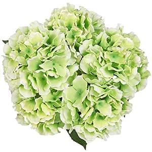 Luyue 5 Big Heads Artificial Silk Hydrangea Bouquet Fake Flowers Arrangement Home Wedding decor (Green)