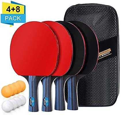 BHGWR Sets de Ping Pong, Sets de Raquetas de Tenis de Mesa 4 Palas ...