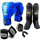 Kit Boxe Muay Thai - Luva + Bandagem + Bucal + Caneleira - Azul - Fheras