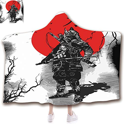 Fashion Blanket Ancient China Decorations Blanket Wearable Hooded Blanket,Unisex Swaddle Blankets for Babies Newborn by,Educated Aristocrat Ancient Knight with Weapon Man,Adult Style Children ()