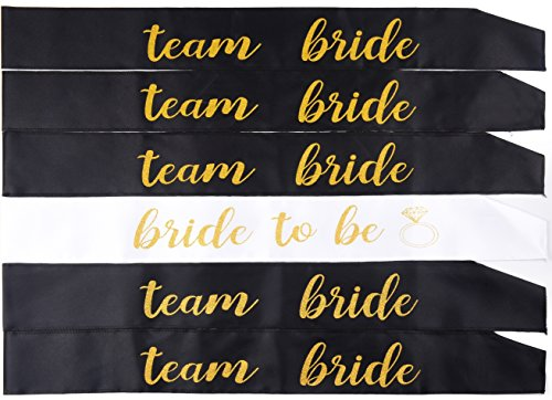 6 pack bachelorette party sash set /1 bride to be sash,/ bridesmaid sash, team bride sash or bride tribe sash(5) /for hen party,bridal shower, engagement & wedding party, maid of honor gift favor