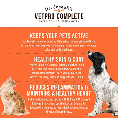 VetPro Complete 100% Pure Wild Alaskan Salmon Oil for Dog & Cat Food -  Large 16 oz - Omega 3 & 6 Liquid Fish Oil Supplement - Supports Healthy  Coat &
