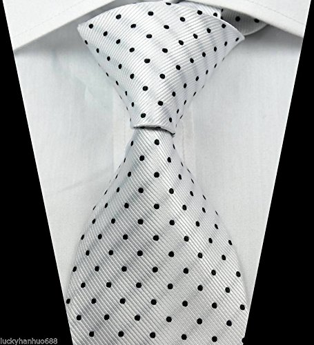Ddang - Classic Patterns Dots White Black JACQUARD WOVEN 100% Silk Men's Tie Necktie TNT - Sunglasses Dot Three
