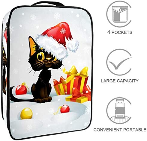 MYSTAGE シューズバッグ 靴箱 シューズケース シューズ袋 旅行収納ポーチ 二層式 靴入れ 小物収納 収納ケース アウドドア 出張 旅行 面白い 猫 クリスマス 雪