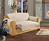 Elegant Comfort QUILTED FURNITURE PROTECTOR for Pet Dog Children Kids -2 TIES TO STOP SLIPPING OFF Treatment Microfiber As soft as Egyptian Cotton, Natural Sofa Cream/Taupe Love Seat