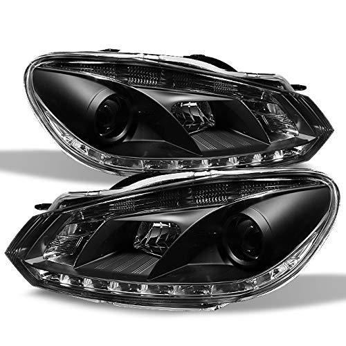 For Volkswagen GTI Jetta R32 Black Bezel DRL Daylight LED Halogen Type Projector Headlights Replacement ()