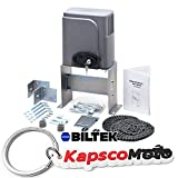 Biltek Automatic Sliding Gate Opener Hardware with 2x Wireless Remotes for Sliding Gates Up to 40ft long and 1400lbs Driveway Security Gate Door Motor Chain Driven Operator Kit + KapscoMoto Keychain