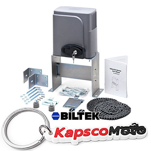 Biltek Automatic Sliding Gate Opener Hardware with 2x Wireless Remotes for Sliding Gates Up to 40ft long and 1400lbs Driveway Security Gate Door Motor Chain Driven Operator Kit + KapscoMoto Keychain by Biltek