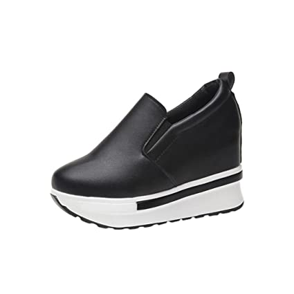 SUKEQ Women's Spring PU Leather Platform Wedge Shoes Solid Wild Wedge Round  Toe Slip On Casual