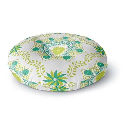 KESS InHouse Anneline Sophia Let's Dance Green Teal Floral Round Floor Pillow, 26'' by Kess InHouse