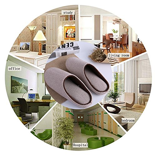 Shoes Clog Use Foam on Indoor Fleece Outdoor House Women's amp; Plush Striped Slip Memory Slippers Men's Lining Brown KRIMUS wq6TF70