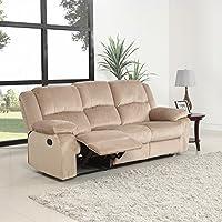 Oversize Traditional Classic Living Room Microfiber Double Recliner Sofa (Beige)