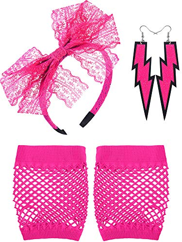 Blulu 80's Lace Headband Neon Earrings Fingerless Fishnet Gloves for 80's Party (Rose ()