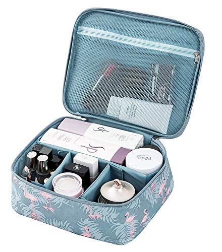 Travel Makeup Bag, Tousland cosmetic bag Organizer with Adjustable Dividers, Waterproof, Flamingo