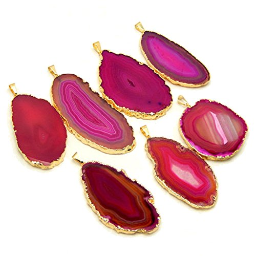 Pink Slice - 1 Pink Agate Pendant Plated Gold Rock Paradise Exclusive COA AM8B9-05