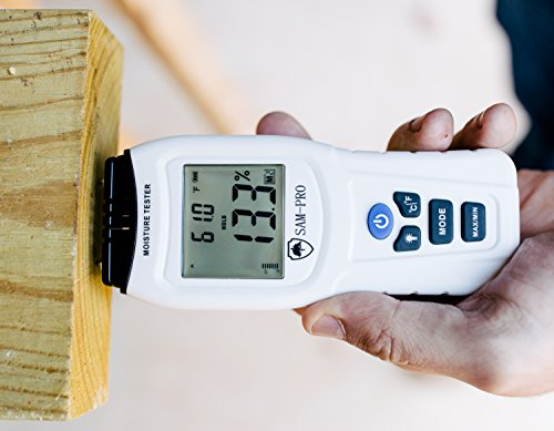 Dual Moisture Meter: LCD BACKLIT DISPLAY- Sensor for Moisture and Temperature in Wood, Concrete, Drywall, Carpet. Detector Tool for Mold Test | Firewood | Home Inspection