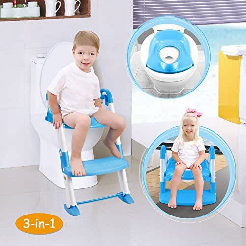 GPCT [Portable] 3-in-1 Kids Toddlers Potty Training Seat W/Step Stool. Sturdy, Comfortable, Safe, Built in Non-Slip Steps W/Anti-Slip Pads. Excellent Potty Seat Step Trainer- Boys/Girls/Baby- Blue