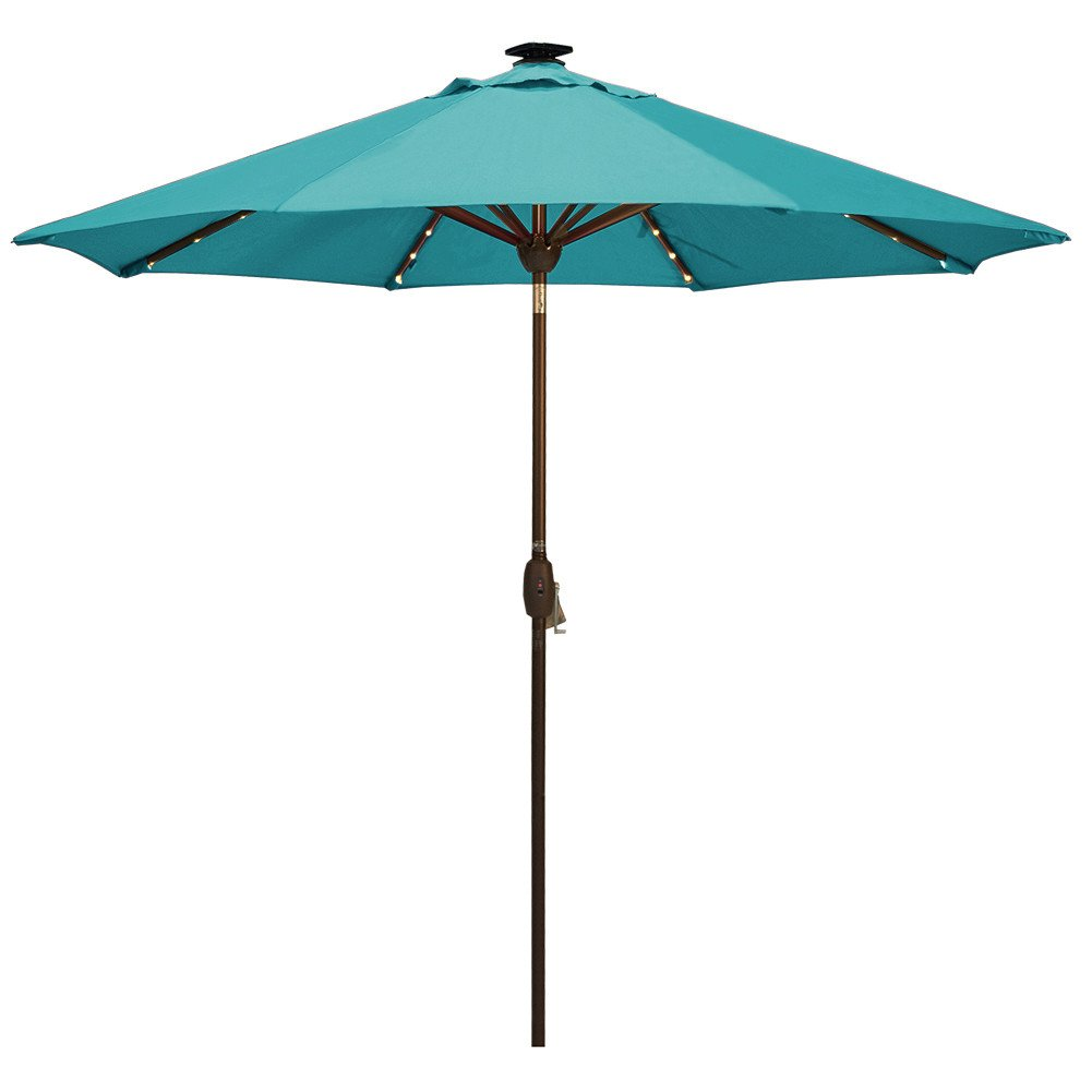 SORARA Patio Umbrella with Solar Powered 64 LED Lights Market Outdoor Umbrella with Tilt Crank Umbrella Cover, 9 Feet, Aruba