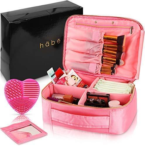 habe Travel Makeup Bag with Mirror - Premium Vegan Designer Make Up Bag Organizer Train Case for Women – More Storage than 3 Cosmetic Bags, Make Up Bags or Make Up Cases (BONUS Brush Cleaner) - Pink