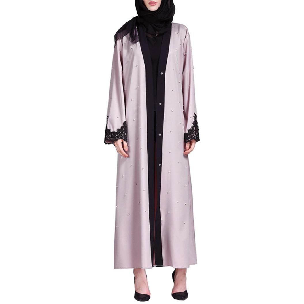 Islamic Muslim Women Full Sleeve Clothing Lace Splicing Long Coat Middle East Long Robe (M)