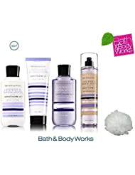 Bath & Body Works LAVENDER & SANDALWOOD Deluxe Gift Set Lotion ~ Cream ~ Fragrance Mist ~ Shower Gel + FREE Shower Sponge Lot of 5