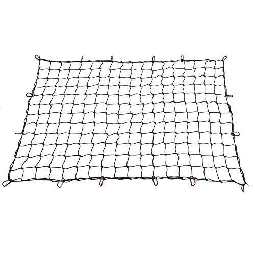 OrionMotorTech 4x6 FT Cargo Net Heavy Duty for Full Size Truck Bed Stretches to 8x12 FT, 16 Tangle-Free D Clip Carabiners, Small 4x4 inches Mesh Holds Small and Large Loads Tighter