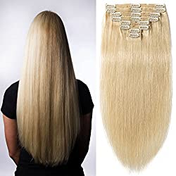 """s-noilite 10""""-22"""" Thick Double Weft 130-160g Grade 7A 100% Clip in Remy Human Hair Extensions Full Head 8 Piece (20""""-150g #613 Bleach Blonde)"""