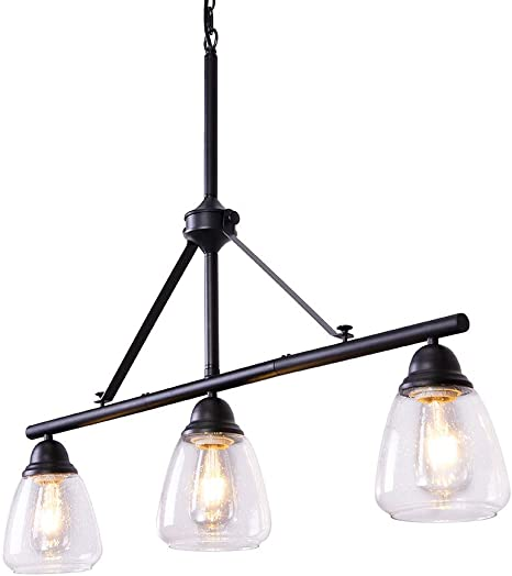 Amazon Com Wellmet Modern 3 Light Pendant Lighting For Kitchen Island 36 Farmhouse Dining Room Lighting Fixtures Hanging Linear Black Industrial Chandelier With Seeded Glass Shades Adjustable Height Home Improvement