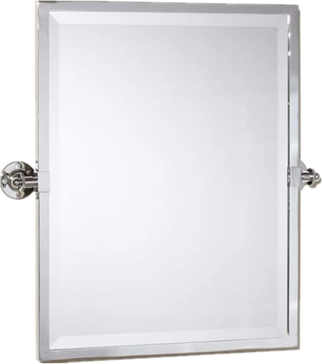 TEHOME Black Metal Framed Pivot Rectangle Bathroom Mirror Tilting Beveled Vanity Mirrors for Wall 23 x 24 inches