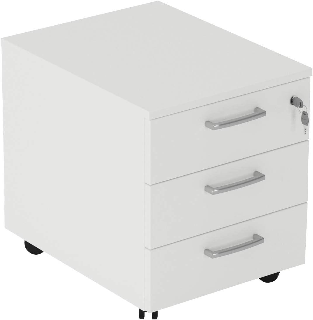 a 3 cassetti su Ruote L.43 x P.54 x H.56 con Serratura sul 1/° cassetto TIME Cassettiera Ufficio o Casa Rovere Scuro