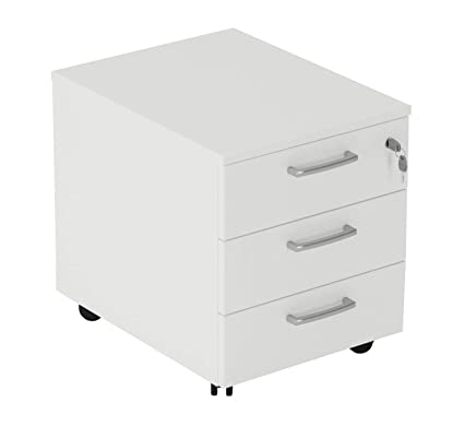 cajonera de oficina con ruedas, montaje fácil, L 42 XP 56 XH 51 cm Color blanco O Gris, color Bianco