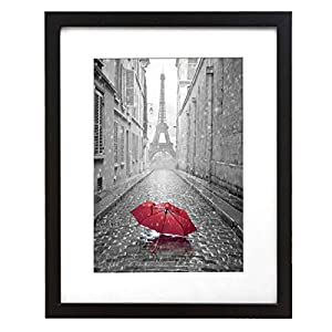 9x12-inch Black Picture Frame - Made to Display Pictures 6x8-inches with Mat or 9x12-inches Without Mat - Wall Mountable - Digital Camera Photography Frame