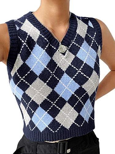 Women Argyle Plaid Knitted Sweater Vest Streetwear Preppy Style V Neck Crop Knitwear Tank Top