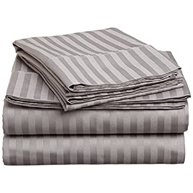 BELLA KLINE BEDDING COLLECTION 100% brushed microfiber 1800 series 4 piece bed sheet set with matching pillowcases, HYPOALLERGENIC, #1 soft and silky luxurious feel, fitted and flat sheets, deep pockets, LIFETIME SATISFACTION GAURANTEED – KING Size, SILVER Light GREY