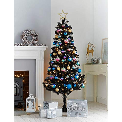 6ft 183cm Deluxe Artificial Christmas Tree (Black) Christmas World