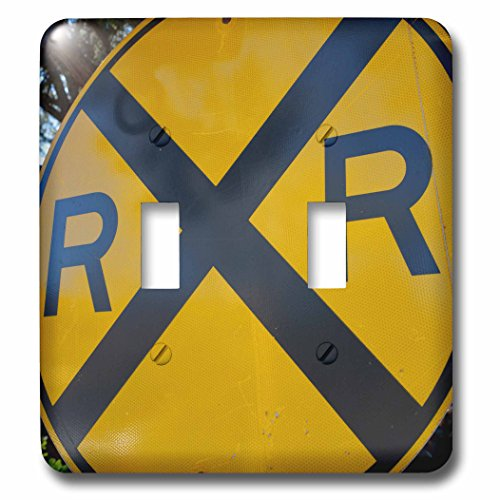 (3dRose Danita Delimont - Signs - USA, Arizona, Sedona. Old yellow railroad crossing sign - Light Switch Covers - double toggle switch (lsp_278462_2))