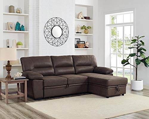 LILOLA Kipling Saddle Brown Microfiber Reversible Sleeper Sectional (Storage With Sectionals)