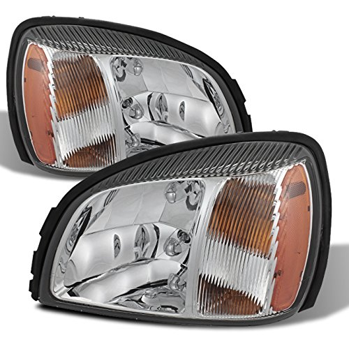 (For 00-05 Cadillac Deville Chrome Clear Headlights Front Lamps Direct Replacement Pair Left + Right)