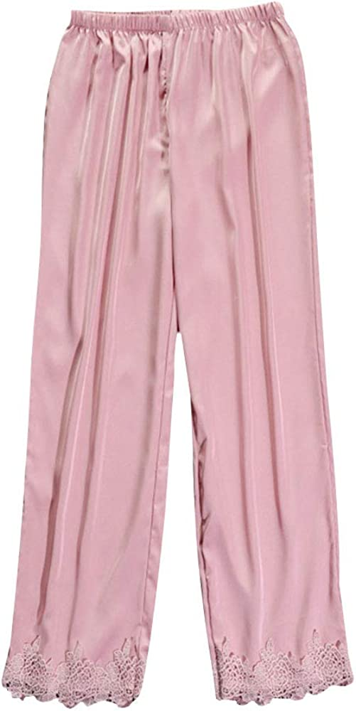 OEAK Damen Schlafanzughose Lang Pyjamahosen Loose Fit Freizeithosen mit Spitzen Casual Bequem Haushose