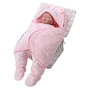 Saco de Dormir para Bebés Swaddle Blanket con Gorro y Piernas,Pink