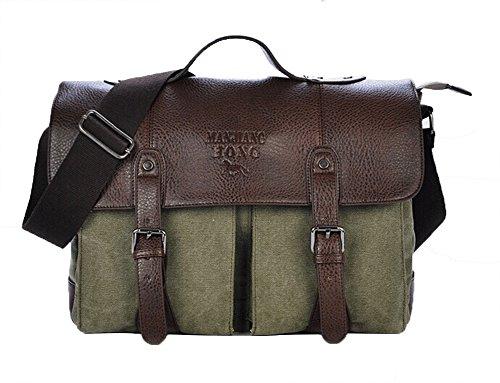 Genda 2Archer Lienzo Flap y PU Cuero Messenger Bag Crossbody del Bolso del Hombro MJH-1169 (café) Ejercito Verde