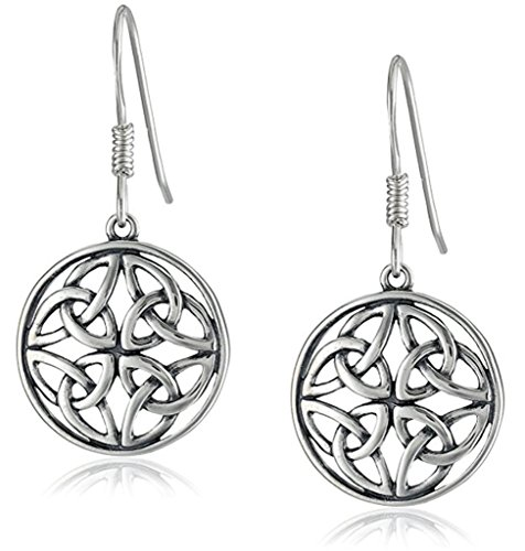 Sterling Silver Celtic Knot Round Drop Wire Earrings, Large Dara Celtic Knot Dangle Earrings, # SSE14 (Round Drop Earrings)