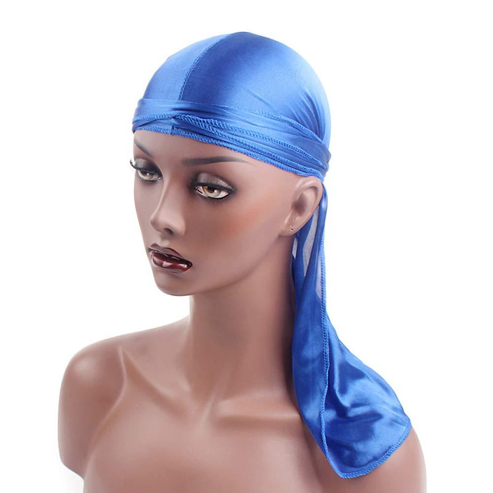 Silky Durag Pirate Cap Turban Chapeau Extra Longue Queue Unisexe Polyester Soie Bandages 360 Ondes